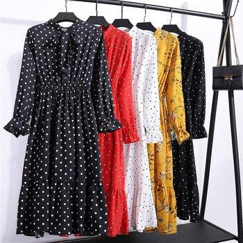Женская одежда размера плюс, шифоновые платья-рубашки с длинным рукавом для женщин, с красным цветочным бантом, для клувечерние, Осень-зима 2020, для женщин 5