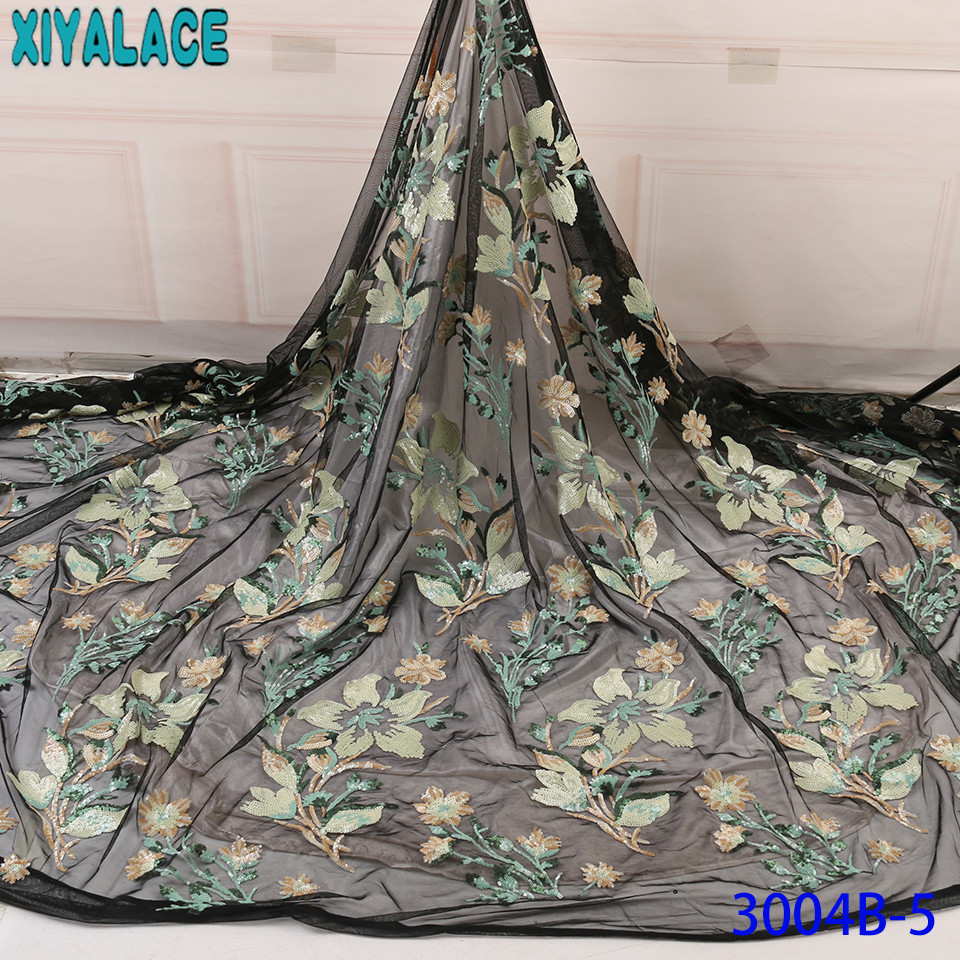 African Lace Fabric 2019 High Quality Lace French Net Lace New Nigerian Laces Fabrics With Sequins For Women KS3004B