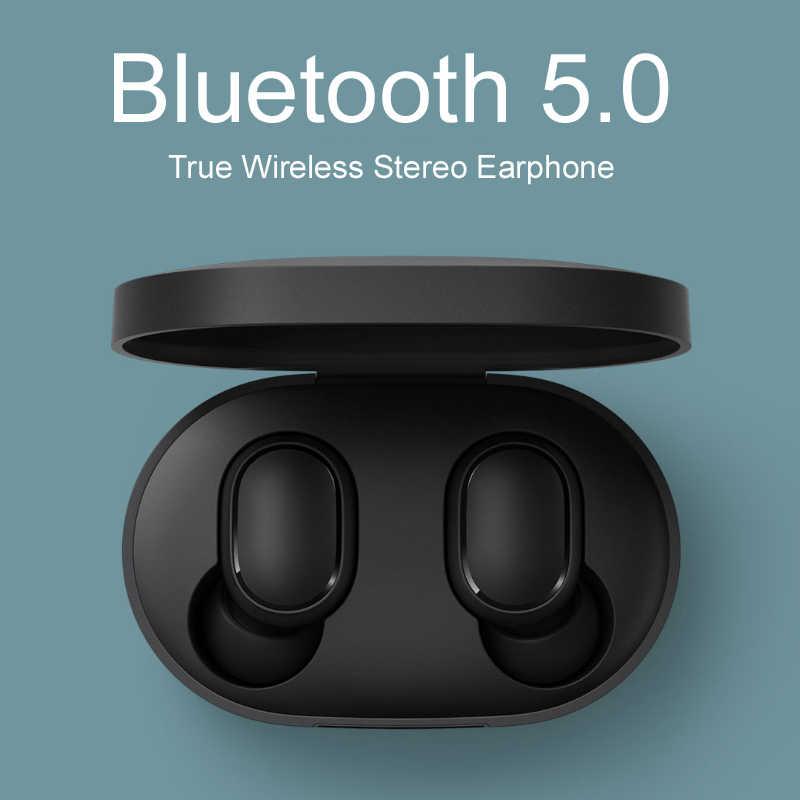 Redmi Xiaomi Airdots TWS Bluetooth 이어폰 무선 5.0 Bluetooth 이어폰 AI 제어 마이크가있는 게임용 헤드셋 소음 감소