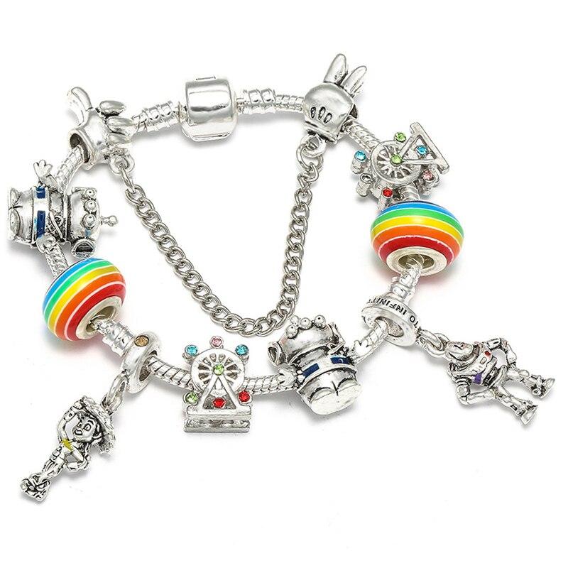 BAOPON Прямая поставка винтажные Подвески серебряного цвета браслеты для женщин DIY Кристальные бусины изящные браслеты для женщин Pulseira ювелирные изделия - Окраска металла: Type 12