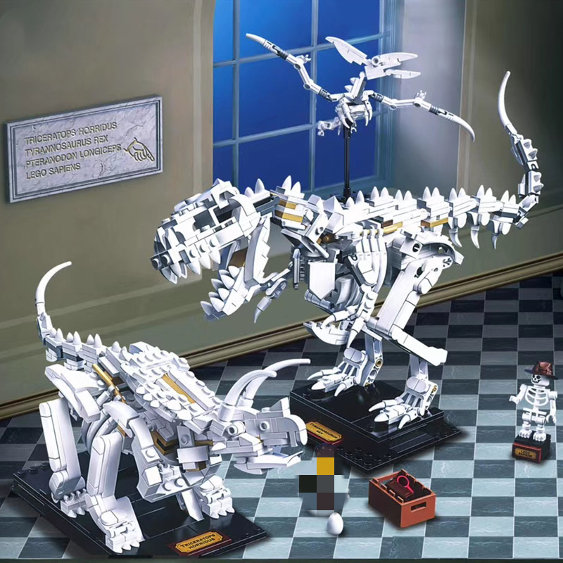 910pcs Ideas 3026 Dinosaur Fossil Tyrannosaurus Rex Triceratops Pterosaur Explore 21320 Building Blocks Bricks Toys Kids Gifts