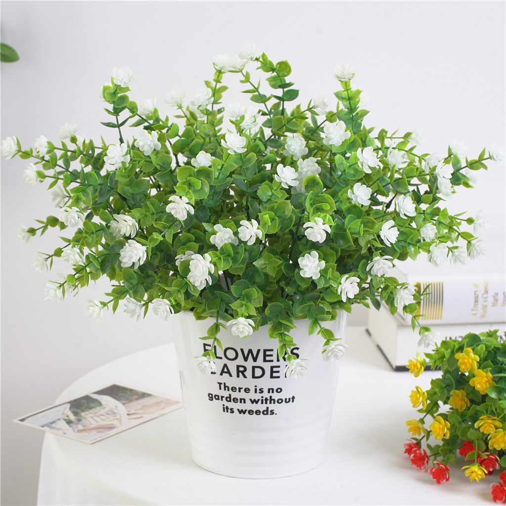 Sztuczne kwiaty sztuczne na świeżym powietrzu krzewy bukszpanu Faux z tworzywa sztucznego zieleni rośliny na zewnątrz wisząca donica patio, ogródek wystrój