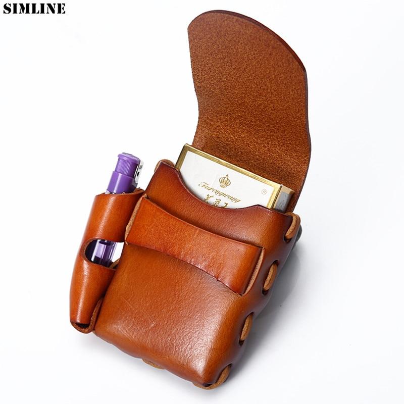 100% Genuine Leather Cigarette Case Men High Quality Cowhide Vintage Handmade Small Belt Waist Bag Pack Bags Holder For Man Male