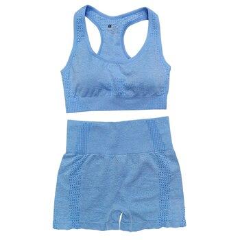 Seamless Women Vital Yoga Set Workout Shirts Sport Pants Bra Gym Clothing Short Crop Top High Waist Running Leggings Sports Set 15