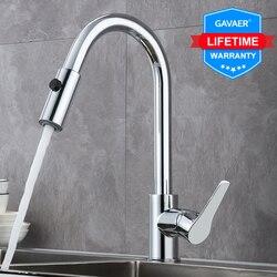 Gavaer Keuken Kranen Enkel Handvat Trek Keukenkraan Swivel Graden Water Mengkraan Chrome Lente Knop Nozzle Water Kraan