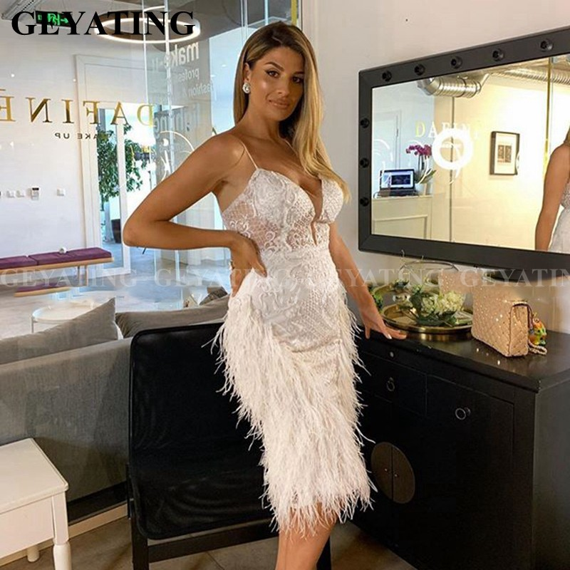 Sexy Spaghetti Straps Feather White Prom Dresses 2020 Short Knee Length Straight Semi Formal Dress Arabic Evening Party Gowns