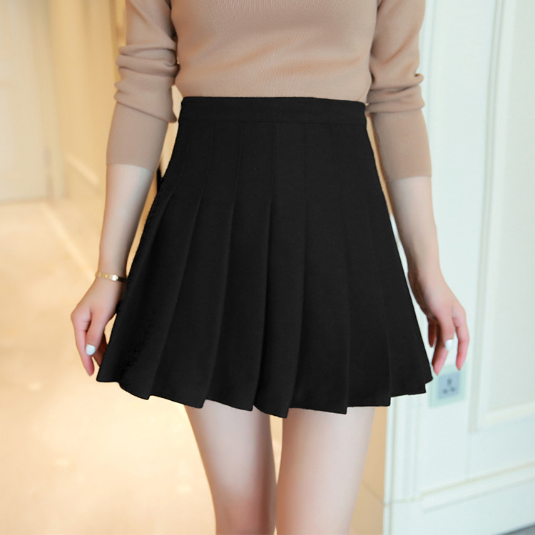WOMEN'S Dress One-Piece Woolen Pleated Skirt Skirt Women's New Style Autumn And Winter High-waisted Super Fire Small Short Skirt