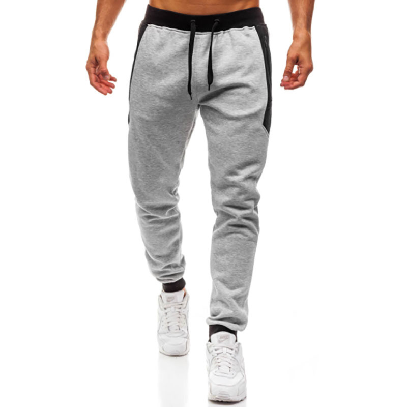 2018 New Style Hot Sales MEN'S Sports Trousers Fashion Zipper Pocket Screw Type Color Block Design Athletic Pants