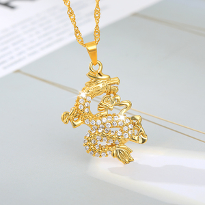 Dragon Pendant Necklaces Gold