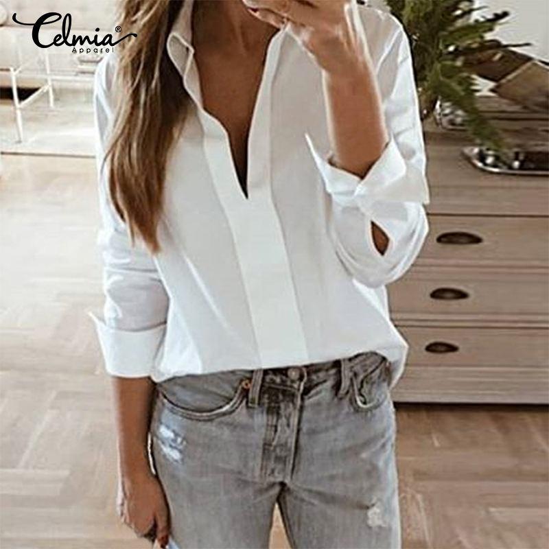 S-5XL Women Long Sleeve White Shirt Blouse 2019 Celmia Ladies Casual Solid Elegant OL Work Top Chemise Blusas Feminina Plus Size