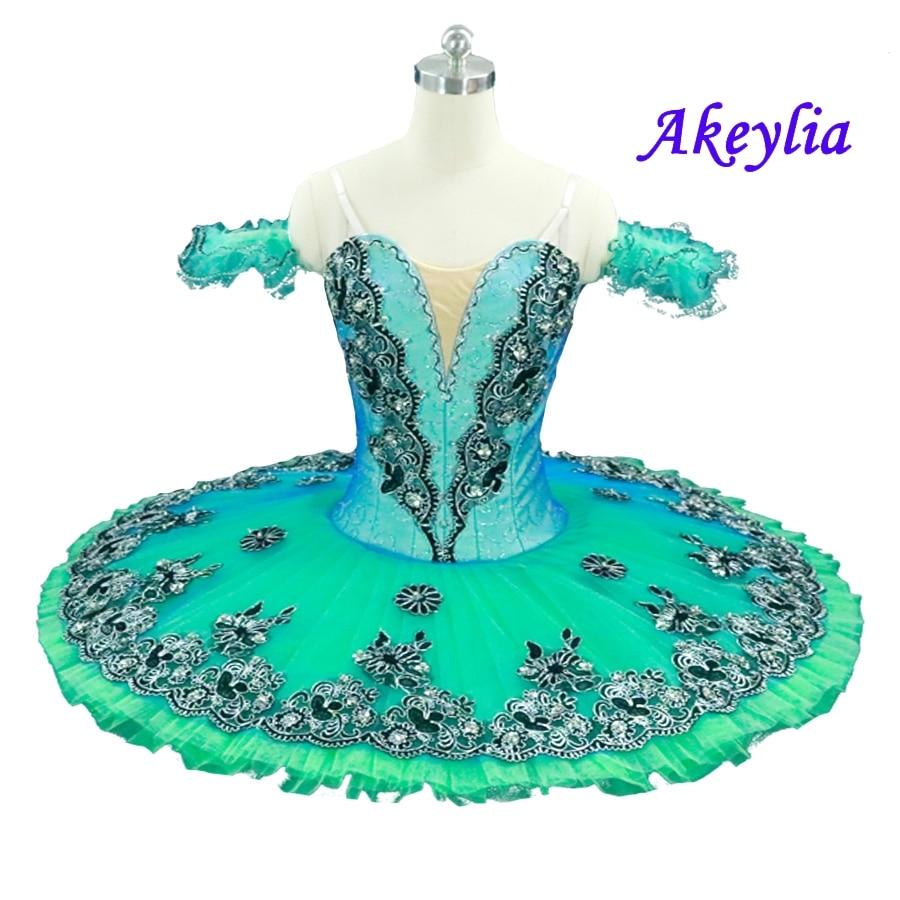 Velluto Royal Blue Bird Variazione di Balletto Professionale Tutu Donne Clsssical Tutu Pancake Del Costume Delle Ragazze Blu Swanlake Bambini - 3