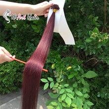 HiArt 1г/с U кончик наращивание волос человека Реми волос салон нарисованные двойником выдвижения красные волосы прямые 18