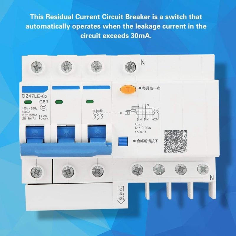 Мода-выключатель остаточного тока DZ47LE-63 3P+ N C63 63A 30 мА защита от электрическим током