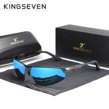 Kingseven óculos de sol masculino polarizado, óculos de sol de alumínio, polarizado, azul, lente espelhada, aviador para homens e mulheres 9121
