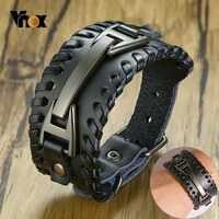 Vnox ampla pulseira de couro para homem elegante pulseira de couro genuíno com metal charme pulseiras punk masculino pulseira