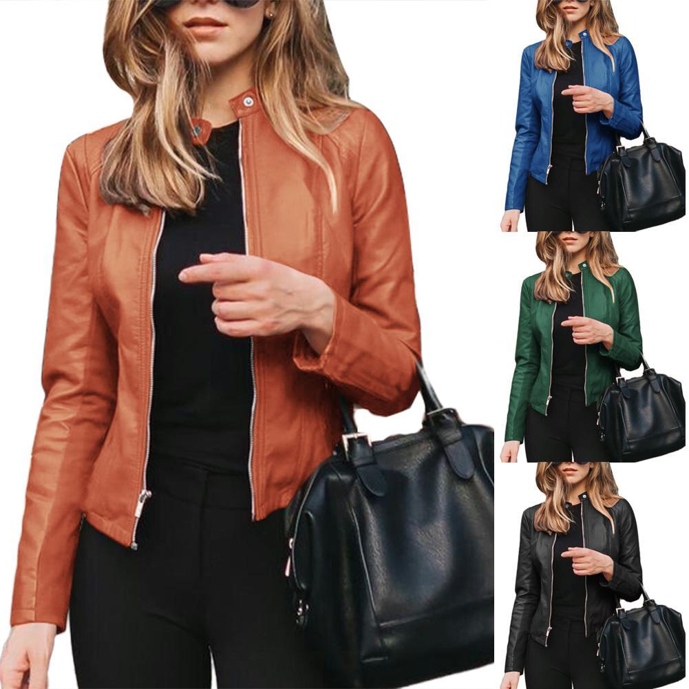 Women Autumn Winter Solid Color Stand Collar Faux Leather Zipper Sliming Coat Jacket Coat Women Coats Long Sleeve Basic Jackets