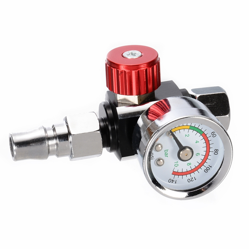 1Pc 1/4 inch Bsp Mini Air Regulator Valve Tool Durable Small Tail Pressure Gauge 48 x 60mm With Nozzle For Spray Tool|Pressure Gauges|Tools - title=