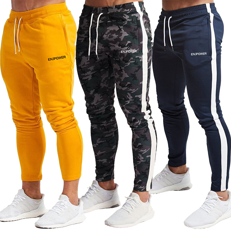 Fashion Stitching Men Pants Fitness Casual Elastic Pants Men Bodybuilding Clothing Casual Navy Military Sweatpants Joggers Pants