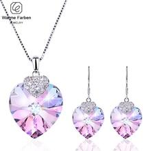 Украшенные кристаллами Сваровски, искусственное сердце, подвеска, ожерелья, серьги капли, набор, подарок на день рождения