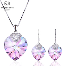 Embellished with Crystal From Swarovski Amethyst Jewelry Set Heart Crystal Pendant Necklaces Drop Earring Set Birthday Gift