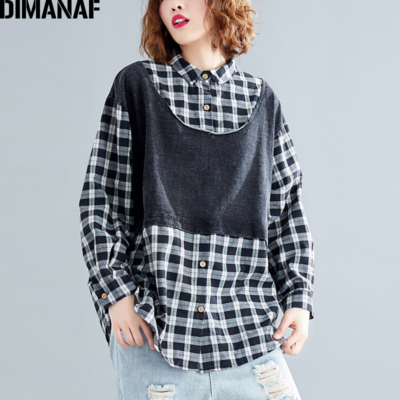 DIMANAF Plus Size Women Blouse Shirts Autumn Vintage Denim Plaid Black Spliced Big Size Casual Lady Tops Loose Female Clothing-in Blouses & Shirts from Women's Clothing on AliExpress - 11.11_Double 11_Singles' Day 1
