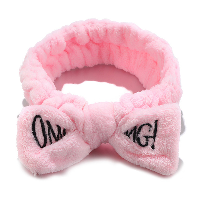 New Colorful OMG Letters Bow Coral Fleece Hairbands For Women Girls Headbands Bandanas Hair Bands