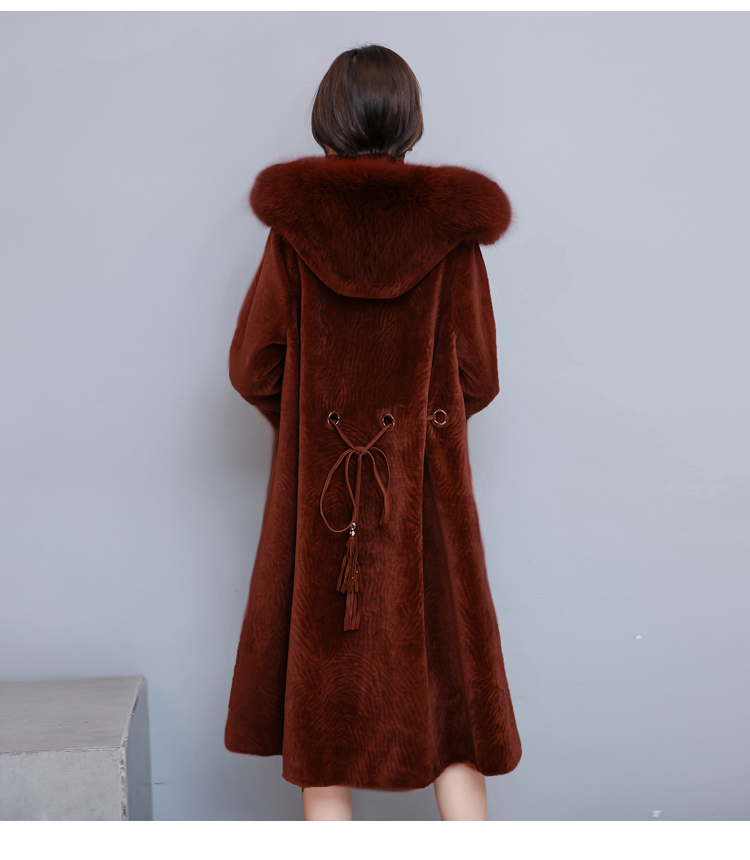 Real Fur Coat Women Long Park With Fur Coats New Winter Hooded Large Fox Fur Collar Warm Overcoat LX2419
