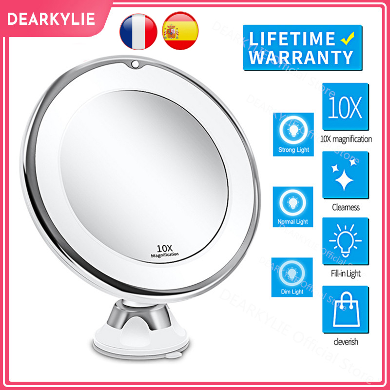 Makeup Vanity Mirror With 10X Lights LED Magnifying Mirror Cosmetic Mirrors Light Magnification LED Make up Mirrors Grossissant 1
