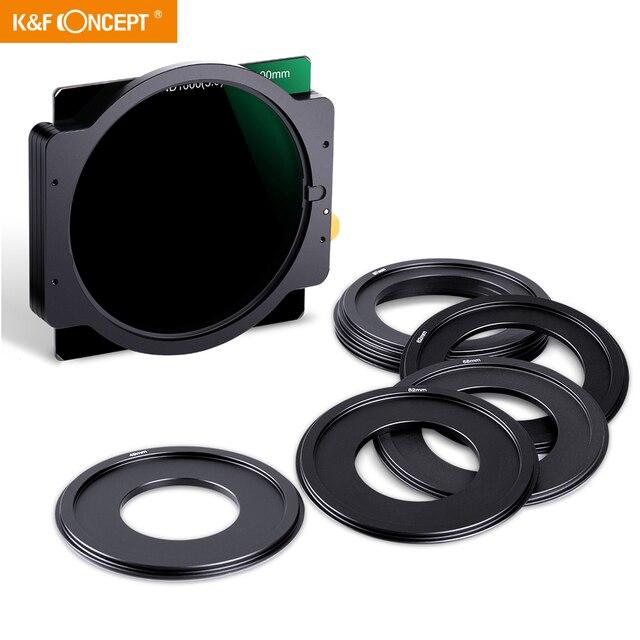 K & F Concept ND1000 filtre carré 100mm x 100mm filtre dobjectif avec support métallique + 8 pièces bagues dadaptation pour Canon Nikon Sony objectif de caméra