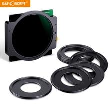 K & F Concept ND1000 filtro quadrato 100mm x 100mm filtro obiettivo con supporto in metallo 8 pezzi anelli adattatori per obiettivo fotocamera Canon Nikon Sony