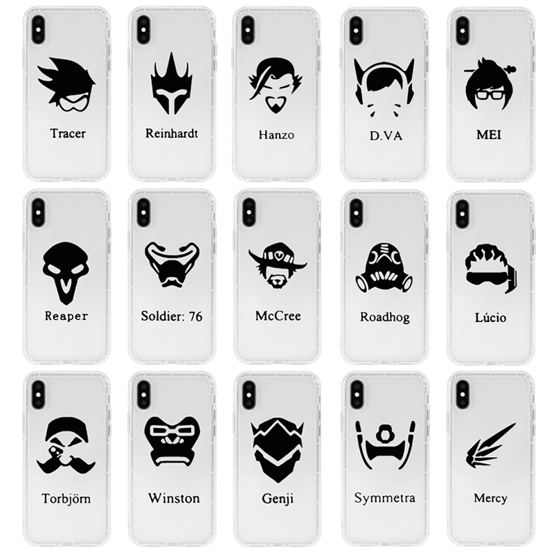 Games Overwatchs Character LOGO Transparent Silicone TPU Phone Case for iPhone 11 Pro XS Max X XR XS Max 7 8 Plus Phone Cover image