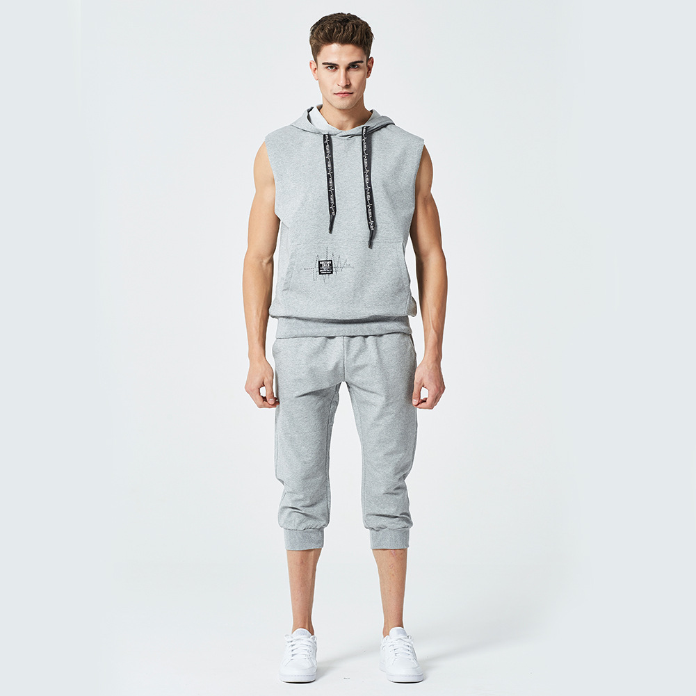 New Style European And American-Style Popular Brand Hoodie Set Men's Sleeveless Hooded Pullover Capri Pants