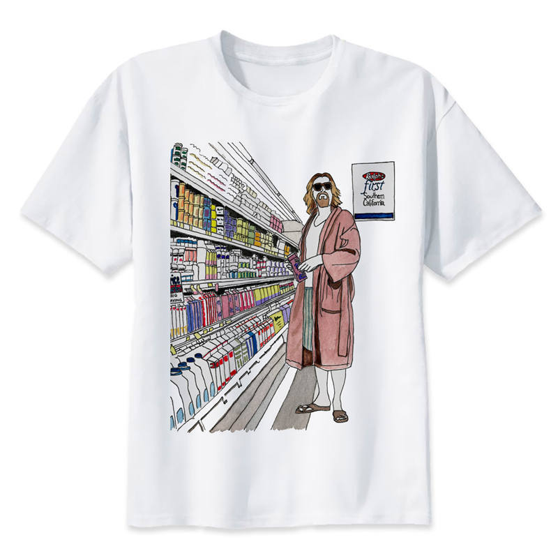 the <font><b>big</b></font> lebowski dude t <font><b>shirt</b></font> men cartoon 2017 cool funny white tshirt print T-<font><b>shirt</b></font> men Tees image