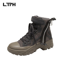 free shipping 2020 spring and autumn new fashion wild black 35-40 leather boots women's shoes short tube round toe marti  Basic marti pellow york