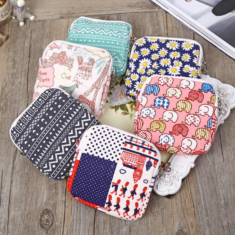 Card Holder Small Wallet Cute Sanitary Pad Organizer Holder Napkin Towel Convenience Bags Case Girls Purses Portemonnee