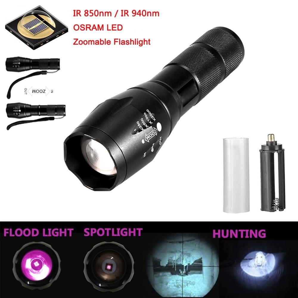 850nm//940nm Infrared Radiation IR Night Vision Light ZoomableLED Flashlight Lamp