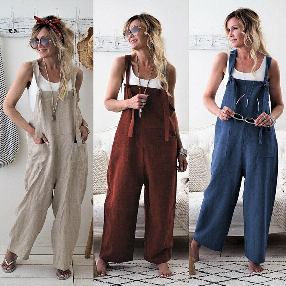Women Oversize NEW Linen Loose Pants Jumpsuit Playsuit Baggy Romper Trousers