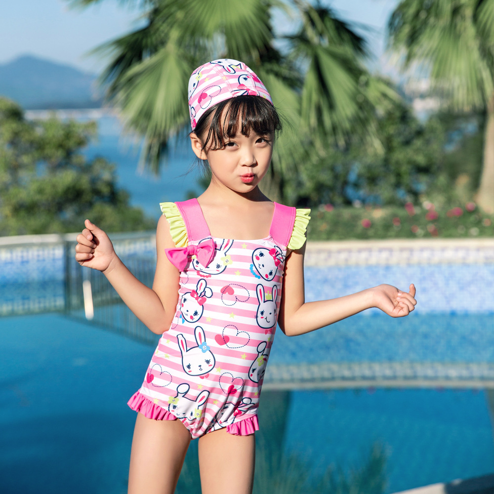 New Style Baby Hot Springs Loli Bow Children Siamese Swimsuit