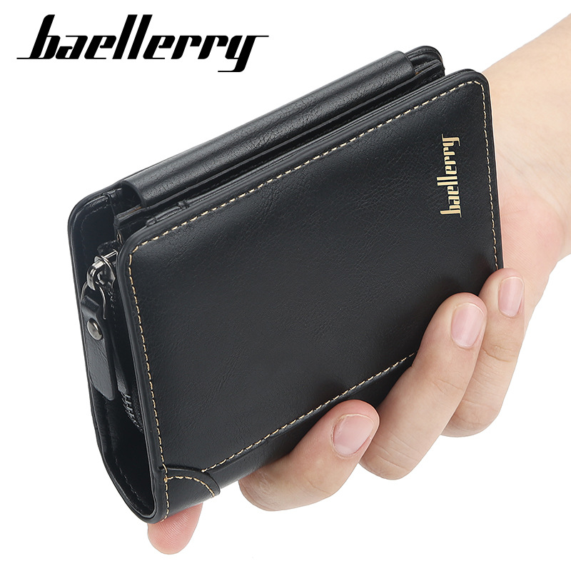 Baellerry Brand Design Men PU Leather Wallet With Zipper Coin Pocket Business Big Capacity Male Short Money Purse Card Holder