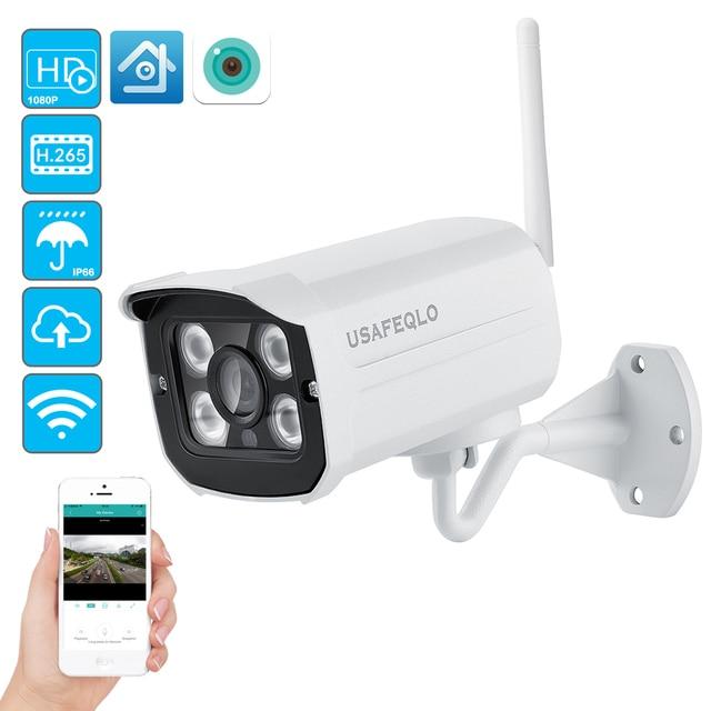 USAFEQLO 1080P IP كاميرا واي فاي الأشعة تحت الحمراء للرؤية الليلية بطاقة SD كاميرا لا سلكية 2MP رصاصة Onvif CCTV في الهواء الطلق للمراقبة بالفيديو