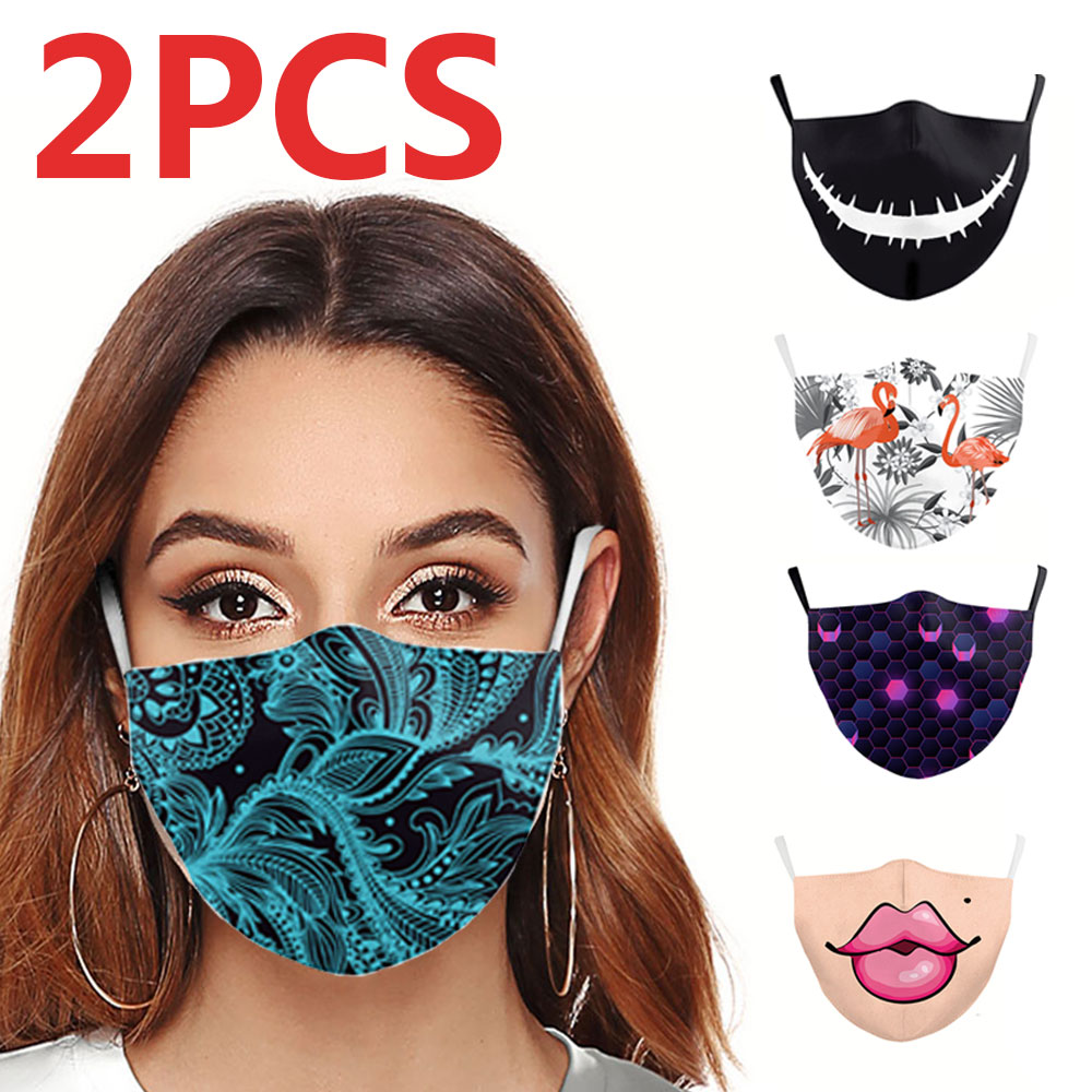 2pcs 3D Printing Mask For Adult Print Fabric Face Maska Washable PM 2.5 Protective Dust Reusable Mouth Masks
