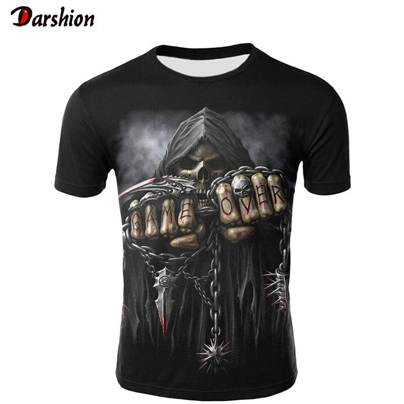 2019 New 3D Skull Poker Funny T Shirts Men Hot Brand Mens Casual 3D Printed T-shirt Men Clothes Tshirt Summer Tops Tees Male