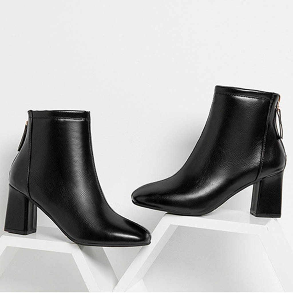 Einfarbig quadratischen kopf frauen stiefel leder Chelsea stiefel seite zipper starke absatz retro stil schuhe neue stil 2019
