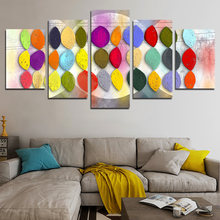 5pcs frameless paintings made of many colors and leaf shapes