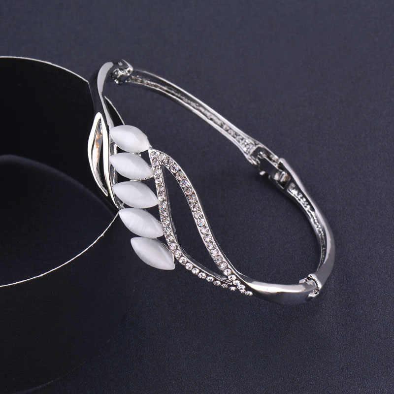 SINLEERY urok Opal kamień liść bransoletki różowe żółte złoto srebro kolor wkładka małe kryształowa bransoletka dla kobiet biżuteria SL203 sztab i prętów ze stali nierdzewnej
