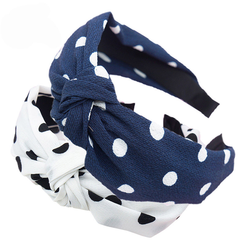 Haimeikang Girls Navy White Polka Dot Bow Headband Hairband Knot Hair Band Headband Retro Women Wide   Headwear   Hair Accessories