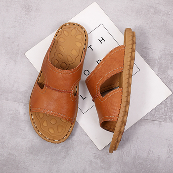 Plus Size 38-47 Summer Slippers Men Flat Shoes Real Leather Hollow Sandals Bathroom Slippers Men Casual Shoes * padegao men s shoes slippers hbc