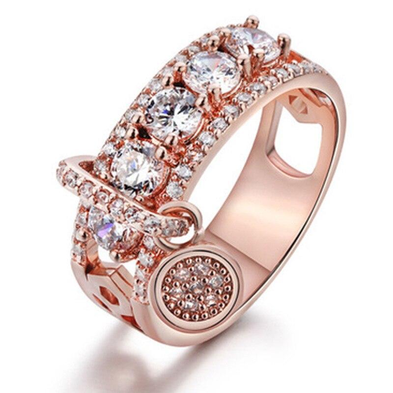 Новинка, кольца из розового золота для женщин, полностью Кристальное обручальное кольцо из Стразы для дам, Женские аксессуары, кольца на палец, ювелирное изделие, подарок - Цвет основного камня: 7
