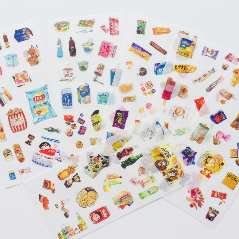 6 Sheet Childhood Memories Snack Washi Paper Decorative Adhesive Stickers