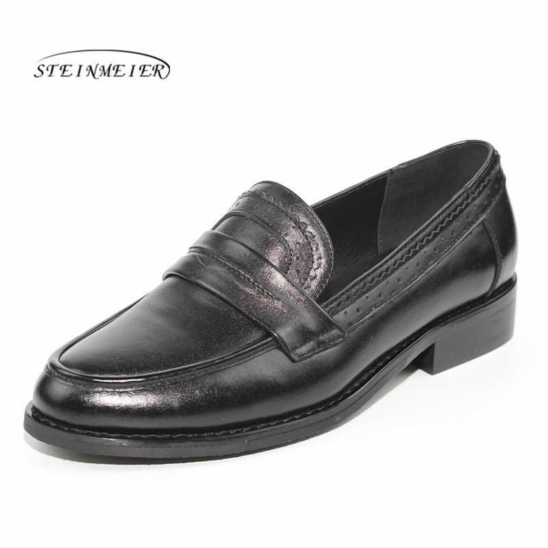 Kadın Flats Oxford ayakkabı kadın hakiki deri sneakers bayanlar Brogues Vintage Casual Oxfords ayakkabı kadın ayakkabısı 2020